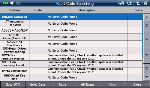 fault code searching by FCS